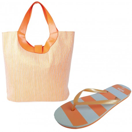 Set slapi flip-flops (35-36) cu geanta de plaja LALU Ianira