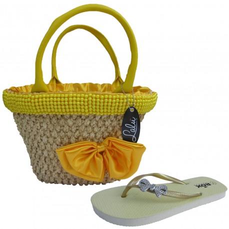 Set slapi flip-flops (36-37) cu cos de plaja LALU Meg